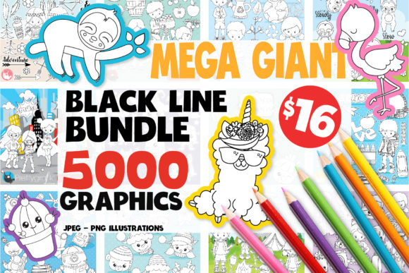 Print on Demand: 5000 in 1 - Black Lines Mega Bundle Gráfico Ilustraciones Por Prettygrafik
