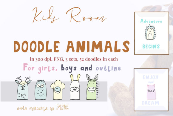 Print on Demand: 52 Doodle Animals Graphics Set Graphic Illustrations By Primafox Design