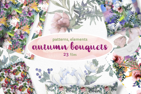 Print on Demand: Autumn Flowers Bouquets Watercolor Png Graphic Illustrations By MyStocks