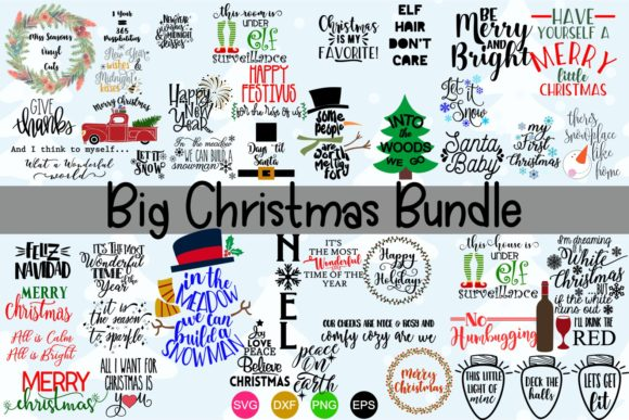 Download Free Big Christmas Bundle Over 50 Svg Designs Graphic By for Cricut Explore, Silhouette and other cutting machines.
