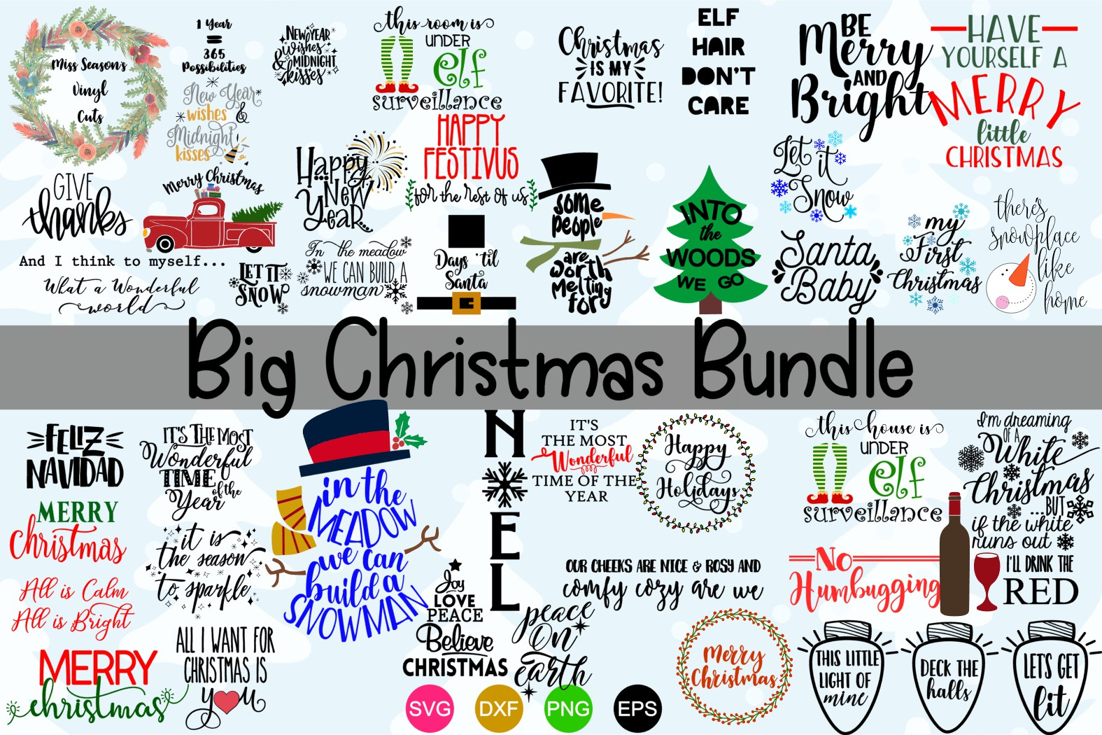 Download Free Big Christmas Bundle Over 50 Svg Designs Graphic By Missseasonsvinylcuts Creative Fabrica for Cricut Explore, Silhouette and other cutting machines.