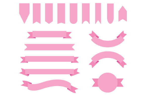 Print on Demand: Baby Pink Badge & Banner Clip Art Graphic Objects By Running With Foxes - Image 1