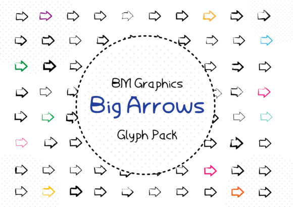 Print on Demand: BM Graphics - Big Arrows Dingbats Font By GraphicsBam Fonts