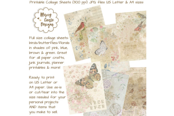 Birds & Butterflies Collage Papers Graphic Backgrounds By MarcyCoateDesigns