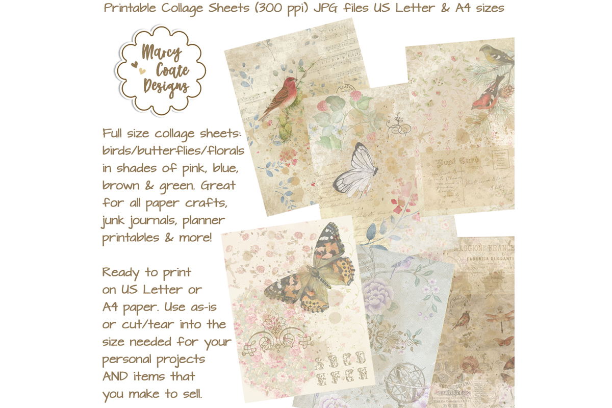 Download Free Birds Butterflies Collage Papers Graphic By Marcycoatedesigns for Cricut Explore, Silhouette and other cutting machines.