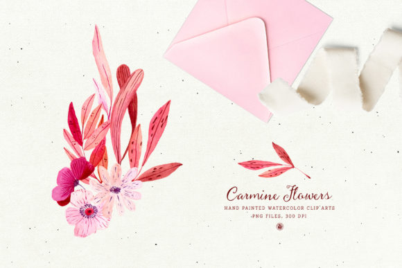 Print on Demand: Carmine Flowers Graphic Illustrations By webvilla - Image 2