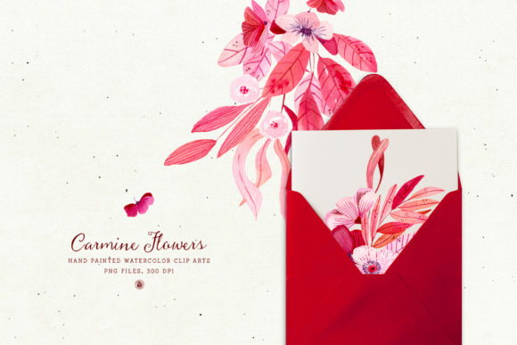 Print on Demand: Carmine Flowers Graphic Illustrations By webvilla - Image 3