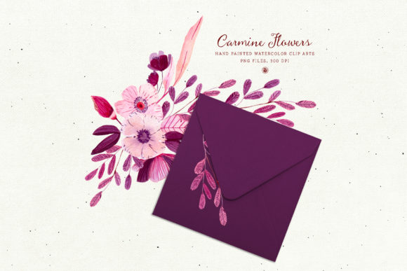 Print on Demand: Carmine Flowers Graphic Illustrations By webvilla - Image 4