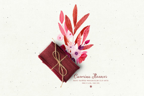 Print on Demand: Carmine Flowers Graphic Illustrations By webvilla - Image 5