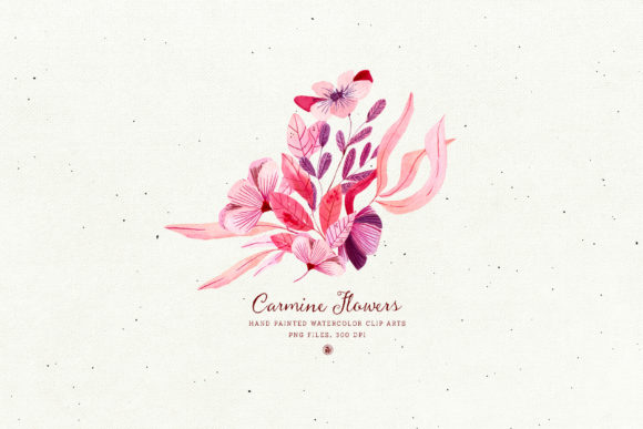 Print on Demand: Carmine Flowers Graphic Illustrations By webvilla - Image 6