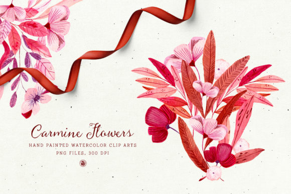 Print on Demand: Carmine Flowers Graphic Illustrations By webvilla - Image 1