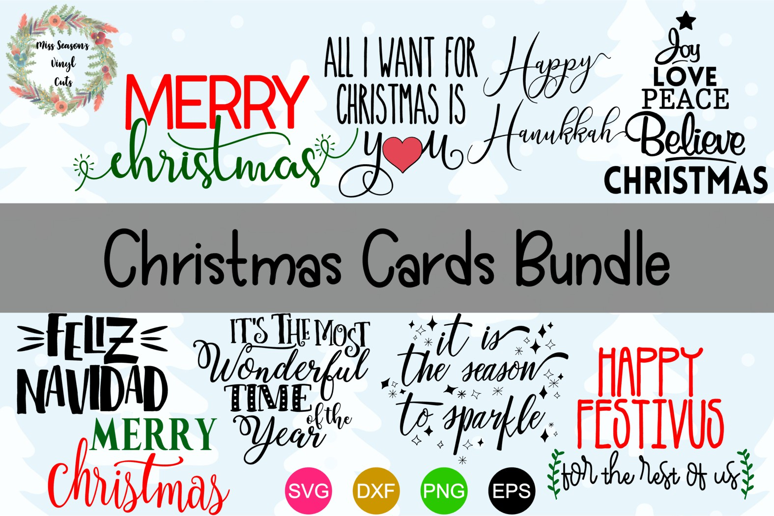 Download Free Christmas Card Bundle Graphic By Missseasonsvinylcuts Creative for Cricut Explore, Silhouette and other cutting machines.