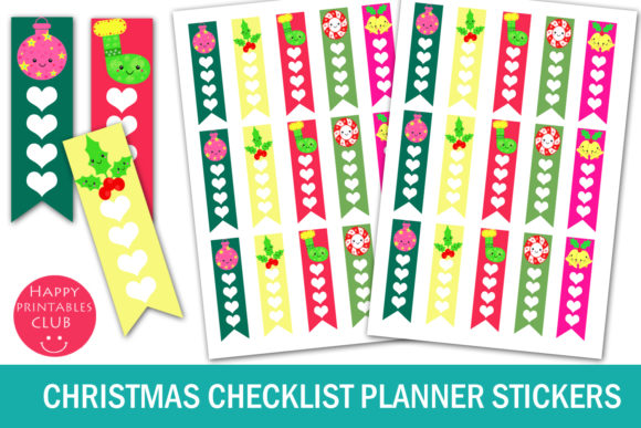 Print on Demand: Christmas Checklist - Planner Stickers Graphic Crafts By Happy Printables Club