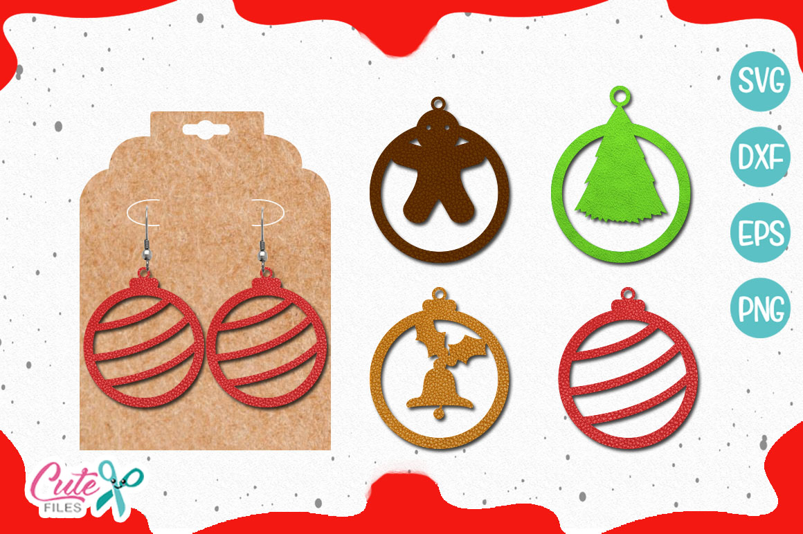 Download Free Christmas Earrings Graphic By Cute Files Creative Fabrica for Cricut Explore, Silhouette and other cutting machines.