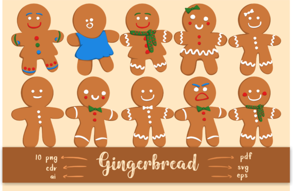 Download Free Christmas Gingerbread Men Graphic By Geadesign Creative Fabrica for Cricut Explore, Silhouette and other cutting machines.