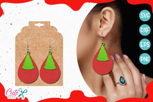 Download Free Christmas Tree Earring Template Graphic By Cute Files Creative for Cricut Explore, Silhouette and other cutting machines.