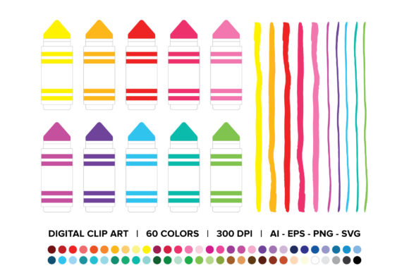 Download Free Chunky Marker Clip Art Set Graphic By Running With Foxes for Cricut Explore, Silhouette and other cutting machines.