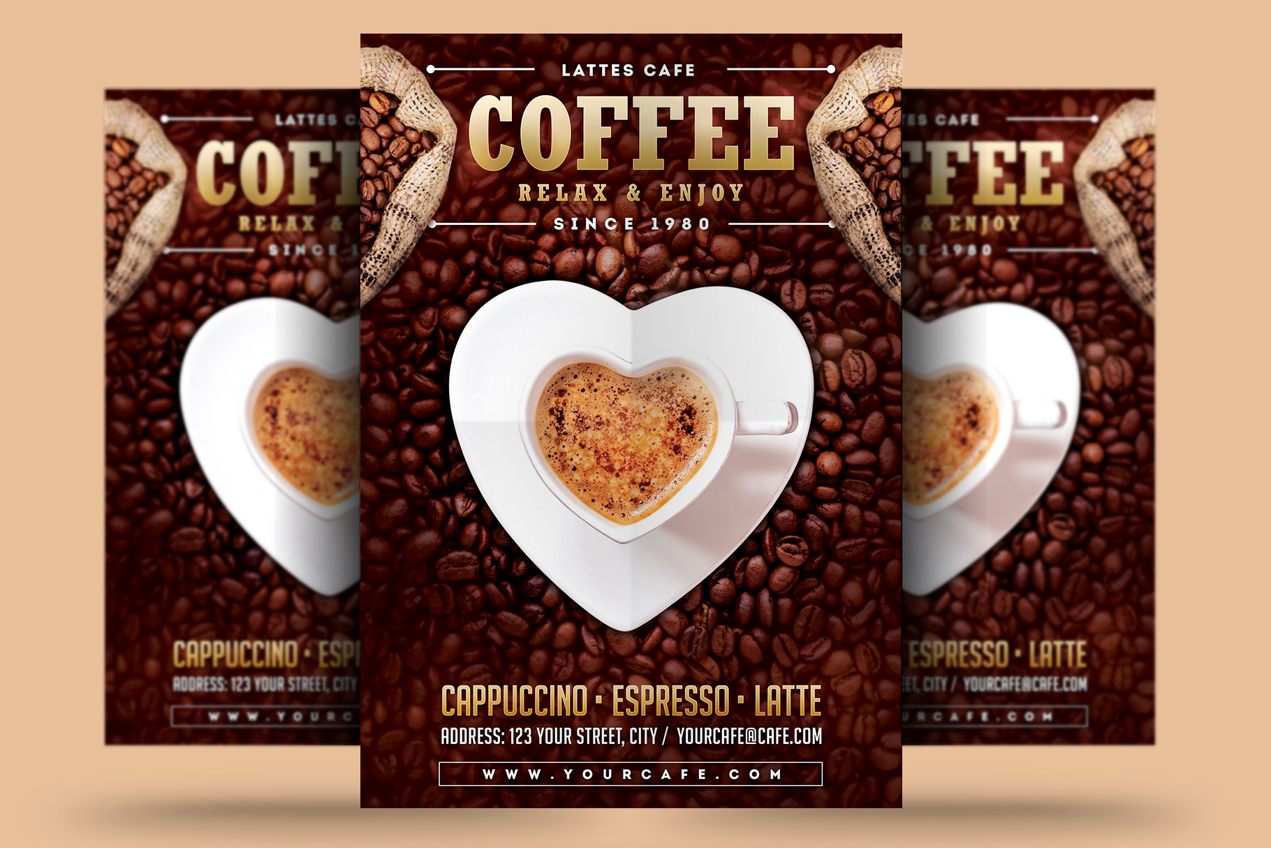 Download Free Coffee Flyer Graphic By Rafozfarzo Creative Fabrica for Cricut Explore, Silhouette and other cutting machines.
