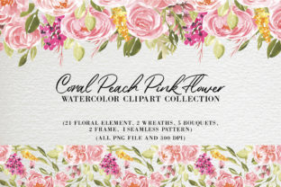 Print on Demand: Coral Peach Pink Flower Watercolor Graphic Illustrations By OrchidArt