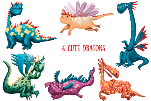 Cute Dragons Clip Art Set Graphic By mashamashastu Image 2