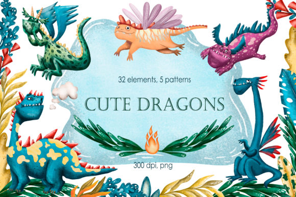 Cute Dragons Clip Art Set Graphic By mashamashastu Image 1