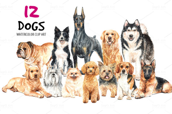 Dog Watercolor. Animal Clip Art Vol.3 Graphic By SapG Art Image 2