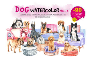 Dog Watercolor. Animal Clip Art Vol.3 Graphic By SapG Art