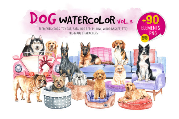 Watercolor Dogs With Accessories Bundle Grafico Por Sapg Art