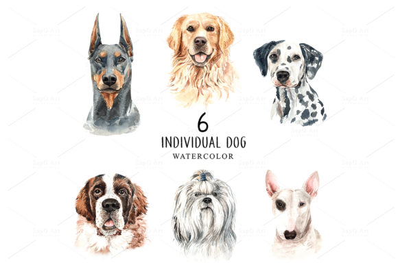 Print on Demand: Dog Watercolor Clipart, Dog Set D Graphic Illustrations By SapG Art - Image 2
