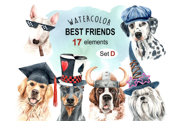 Print on Demand: Dog Watercolor Clipart, Dog Set D Graphic Illustrations By SapG Art