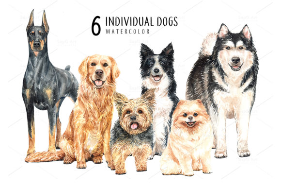 Print on Demand: Dog Watercolor Clipart Graphic Illustrations By SapG Art - Image 2