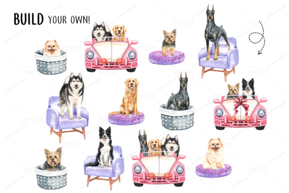 Print on Demand: Dog Watercolor Clipart Graphic Illustrations By SapG Art - Image 6