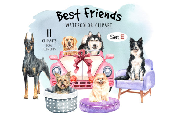 Print on Demand: Dog Watercolor Clipart Graphic Illustrations By SapG Art - Image 1