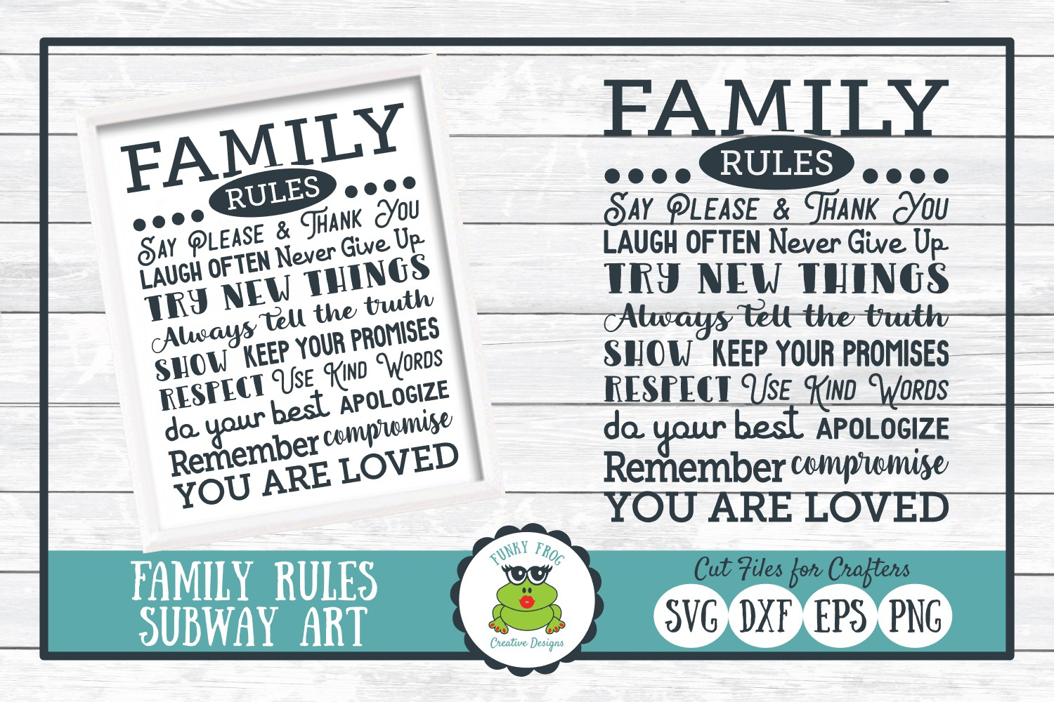 Download Free Family Rules Subway Art Graphic By Funkyfrogcreativedesigns for Cricut Explore, Silhouette and other cutting machines.