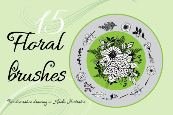 Print on Demand: Floral Art Brushes for Adobe Illustrator Graphic Brushes By Eva Barabasne Olasz