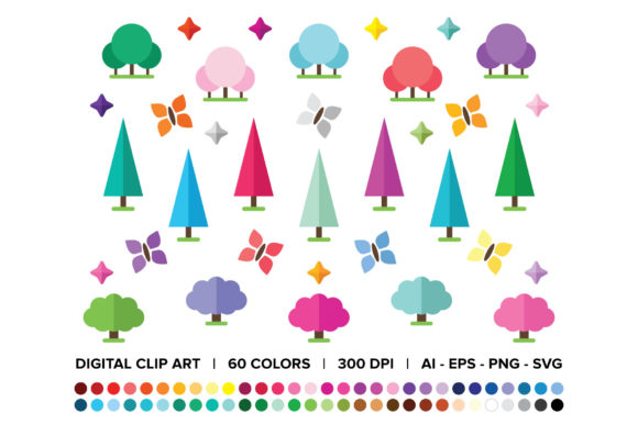 Print on Demand: Geometric Magic Forest Clip Art Set Graphic Objects By Running With Foxes - Image 1