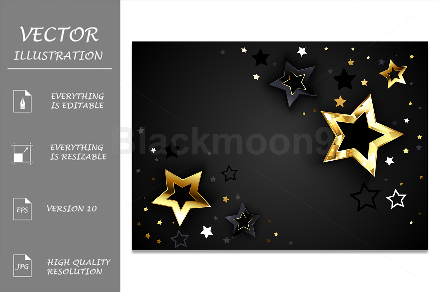 Download Free Gray Background With Black Stars Graphic By Blackmoon9 for Cricut Explore, Silhouette and other cutting machines.