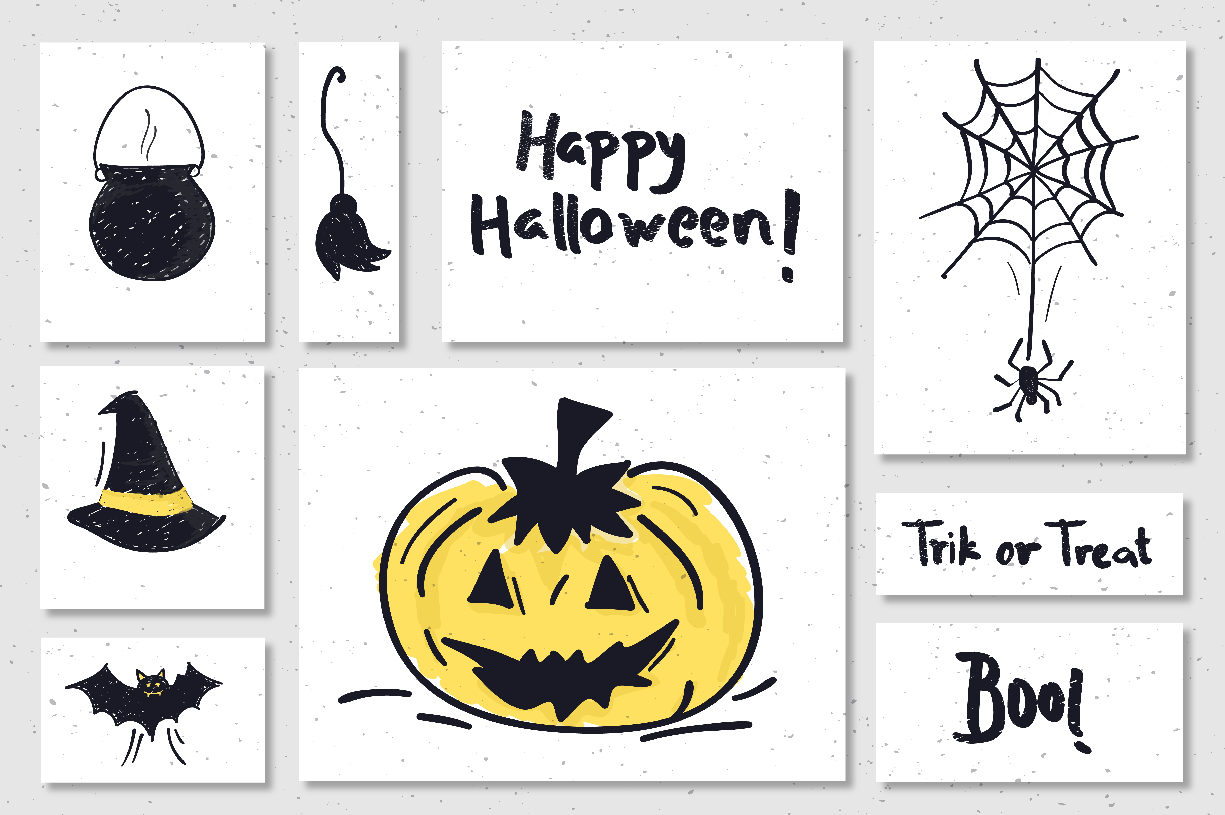 Download Free Halloween Doodle Hand Drawn Art Bundle Graphic By Richline for Cricut Explore, Silhouette and other cutting machines.