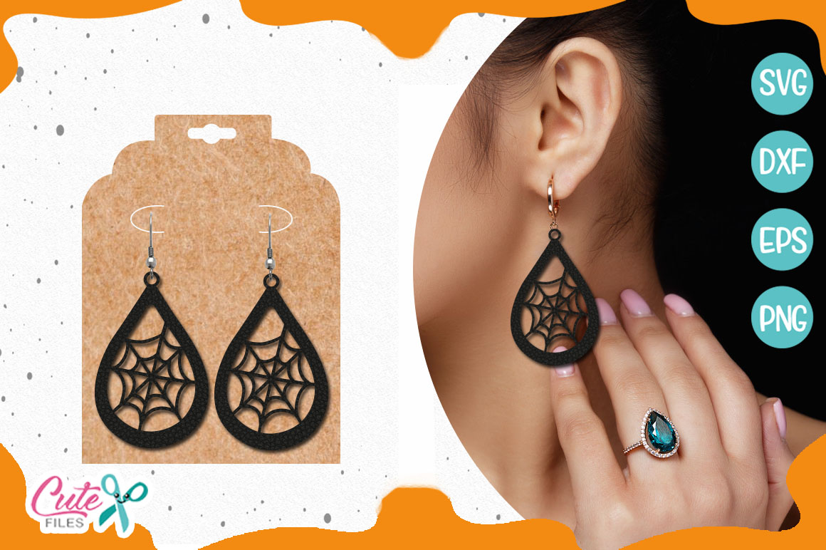 Halloween Earring Template Svg Cut File Graphic By Cute Files