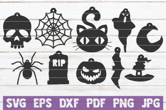Download Free Halloween Earrings Cut Files Graphic By Mintymarshmallows for Cricut Explore, Silhouette and other cutting machines.
