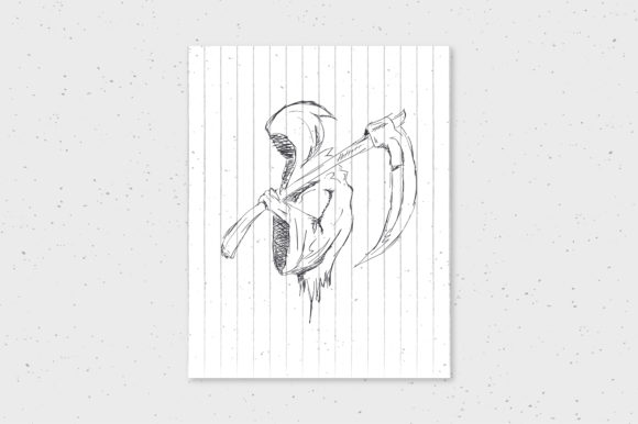 Halloween Grim Reaper Doodle Hand Drawn Art Graphic By Richline
