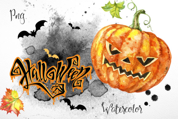 Set of Halloween Watercolor Clipart. Graphic Illustrations By grigaola