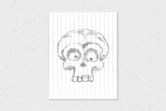 Halloween Skull Doodle Hand Drawn Art Graphic By Richline Design
