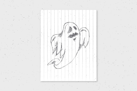 Download Free Halloween Spooky Ghost Doodle Hand Drawn Art Graphic By Richline for Cricut Explore, Silhouette and other cutting machines.