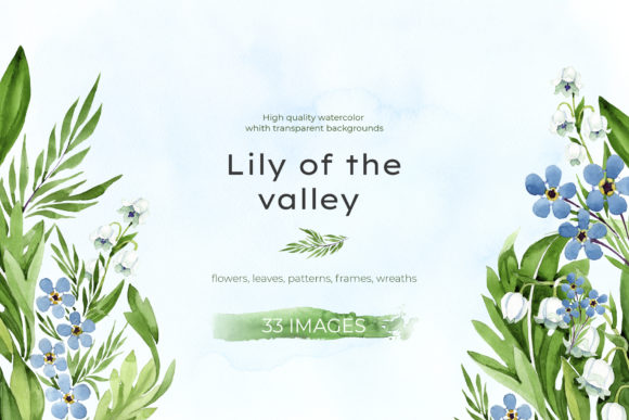 Print on Demand: Lily of the Valley Watercolor and Forget Graphic Illustrations By MyStocks