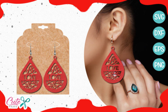 Love Earring Template Gráfico Crafts Por Cute files