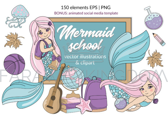 Download Free Mermaid School Illustration Animation Graphic By Farawaykingdom for Cricut Explore, Silhouette and other cutting machines.