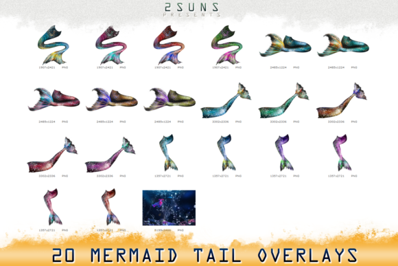Download Free Mermaid Tail Overlays Graphic By 2suns Creative Fabrica for Cricut Explore, Silhouette and other cutting machines.