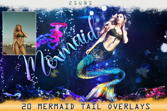 Download Free Mermaid Tail Overlays Grafik Von 2suns Creative Fabrica for Cricut Explore, Silhouette and other cutting machines.