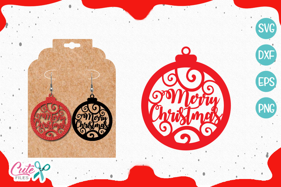 Download Free Merry Christmas Earring Template Svg Graphic By Cute Files for Cricut Explore, Silhouette and other cutting machines.